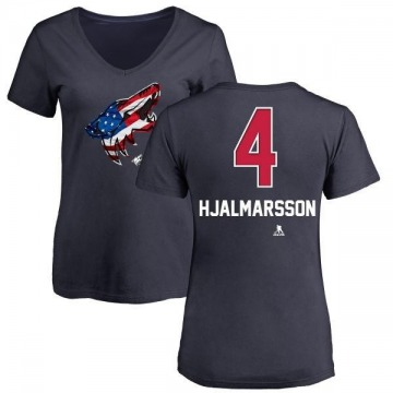 Women's Niklas Hjalmarsson Arizona Coyotes Name and Number Banner Wave V-Neck T-Shirt - Navy